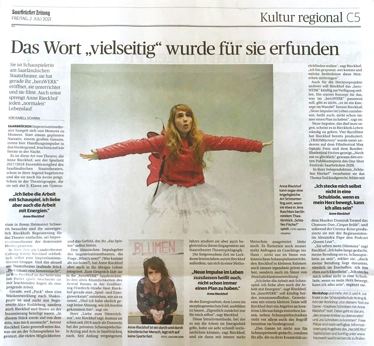Isabell Schirra // Saarbrücker Zeitung vom 02. Juli 2021